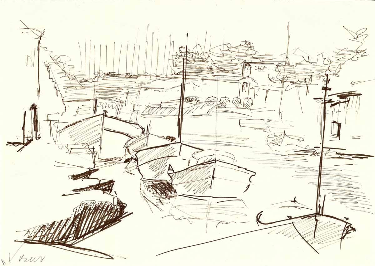Hafen auf Mallorka 1 Feder Tusche